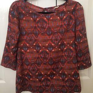 Tops - Fall pattern silk blouse